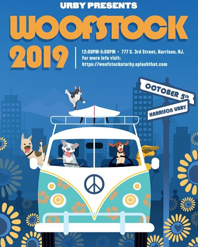 """Guys... this is going to be insane!! @urbylife is hosting a dog and music extravaganza! Saturday, Oct 5 at 12pm there will be live music and vendors ready to cater to your dog including handmade pet accessories, dog walking, mini training sessions, raw freeze-dried treats and more. In addition to the market, food trucks, satellite bars by @coperacoharrison and @the van guardharriso Cocktail Bar, adoption opportunities, and Instagrammable photo opps!  There will even be complimentary doggy portraits hand-drawn by @pinkyweber , a Doggy Bar featuring the Pupper Cup (dairy-free """"ice cream""""), and a raffle with @Barkbox & @Glossier's limited edition toys. 😍😍😍😍😍"""