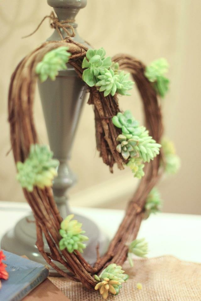 succulent grapevine heart wreath