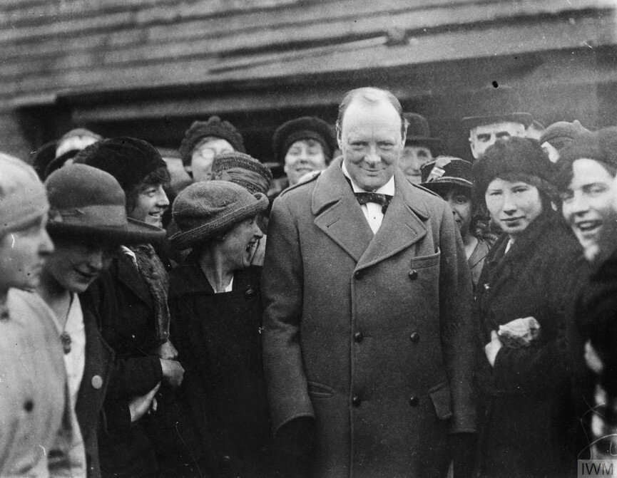 Minister of Munitions WInston Churchill meets with women war workers in 1918