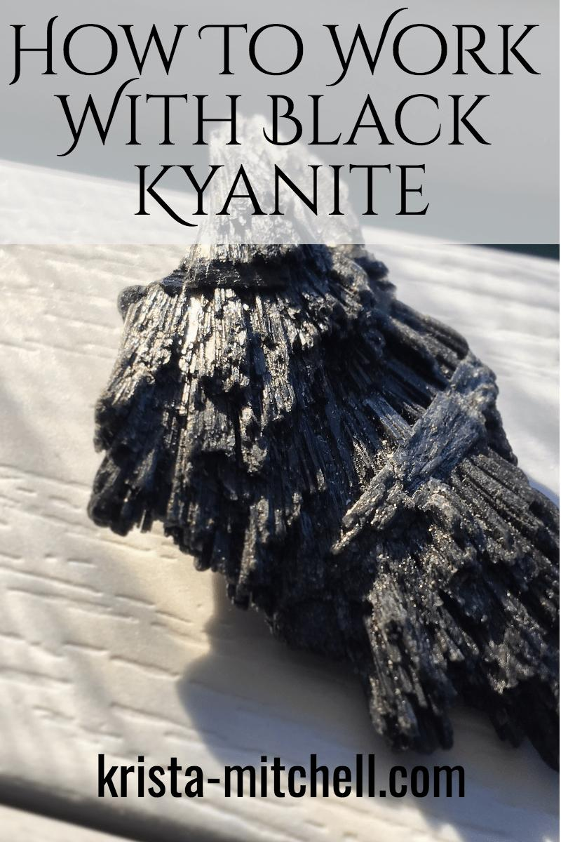 Black kyanite is a power crystal that helps to remove blocked energy, deflect psychic attack, and help you to uncover and work through the causes of inner resistance.