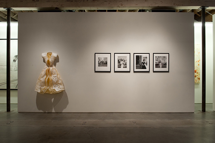 "Shell,  2010.  App. 5 1/2' x 3 3/4' x 2' deep, wall-mounted. Paper, wire, acrylic. Shown with Herb Ritts' photographs, Winston Wachter Gallery, ""Dress Envy,"" Seattle, 2010."
