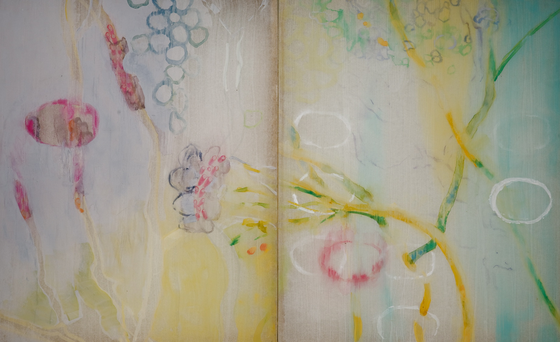 "Detail Reflecting Pond, 2007, watercolor, semi-translucent paper adhered to cradled plexiglass panel, 82"" x 50"" x 2' deep."