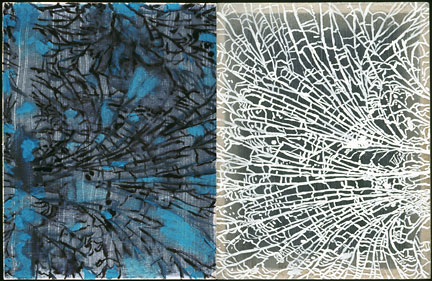 """Detail """"Variations,"""" 2005, watercolor and gouache on semi-translucent paper adhered to cradled plexiglass panels, 10"""" x 16"""" x 2"""" deep."""