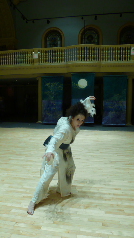 Moon in the Bucket , backdrop, costumes, set, Fisher Ensemble opera performed Judson Memorial Church, NYC, 2008.