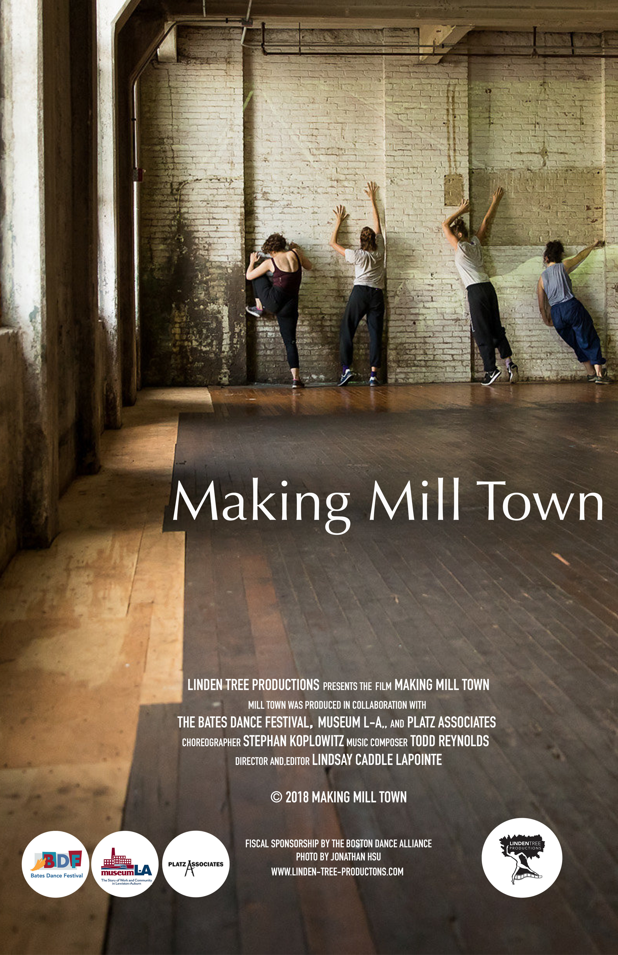 The Making Mill Town video documents the creation of Mill Town, an immersive multimedia performance installation that animates the history and culture of mill life the 19th century. Through a loose imagistic narrative referencing past, present and future, Mill Town conjures new possibilities for vacant mill buildings that once provided the Lewiston-Auburn communities their backbone and character. Making Mill Town serves as a lasting document of this powerful and ephemeral performance that re-animated the work and life of one mill community and inspired audiences with a highly imaginative, site-specific expression of the iconic spaces. -