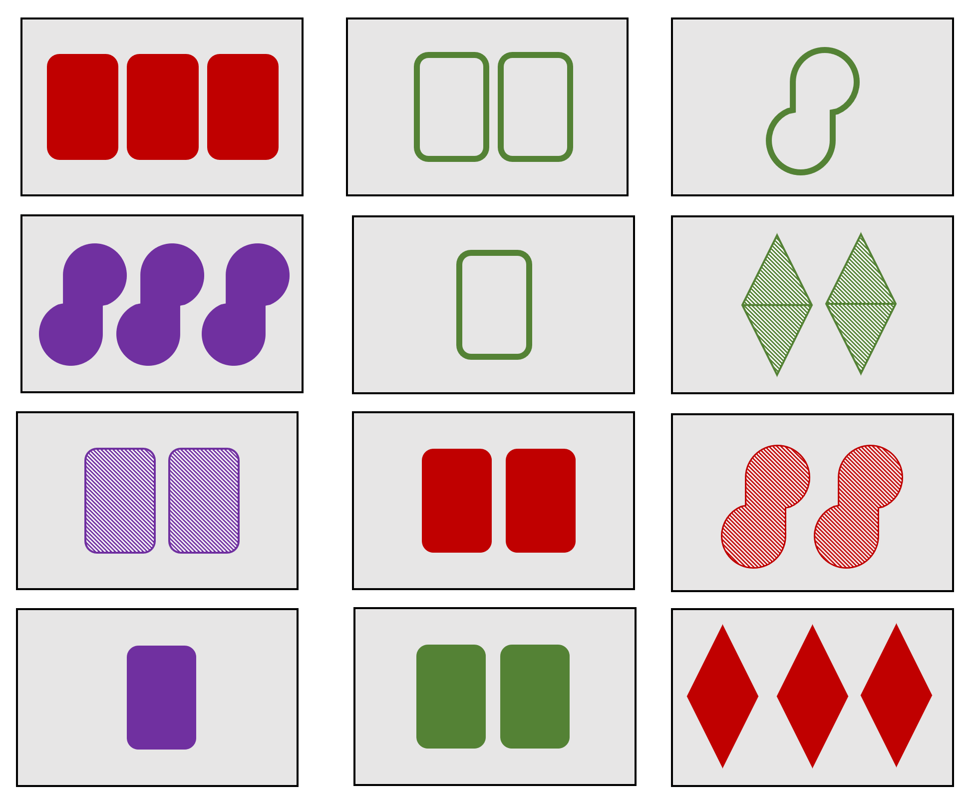 An example layout of the 12 cards. There are 4 possible sets here — can you find them all?