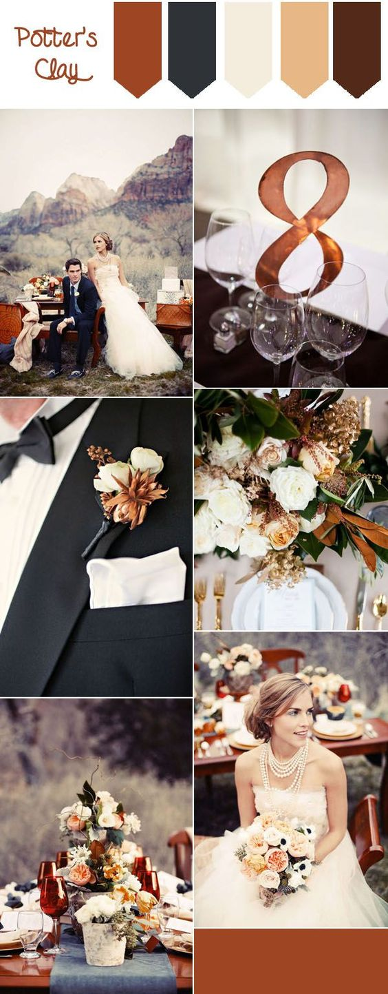 Brown, Cream & Green Wedding Color Palette