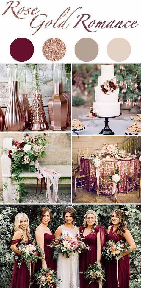Rose Gold & Wine Wedding Color Palette