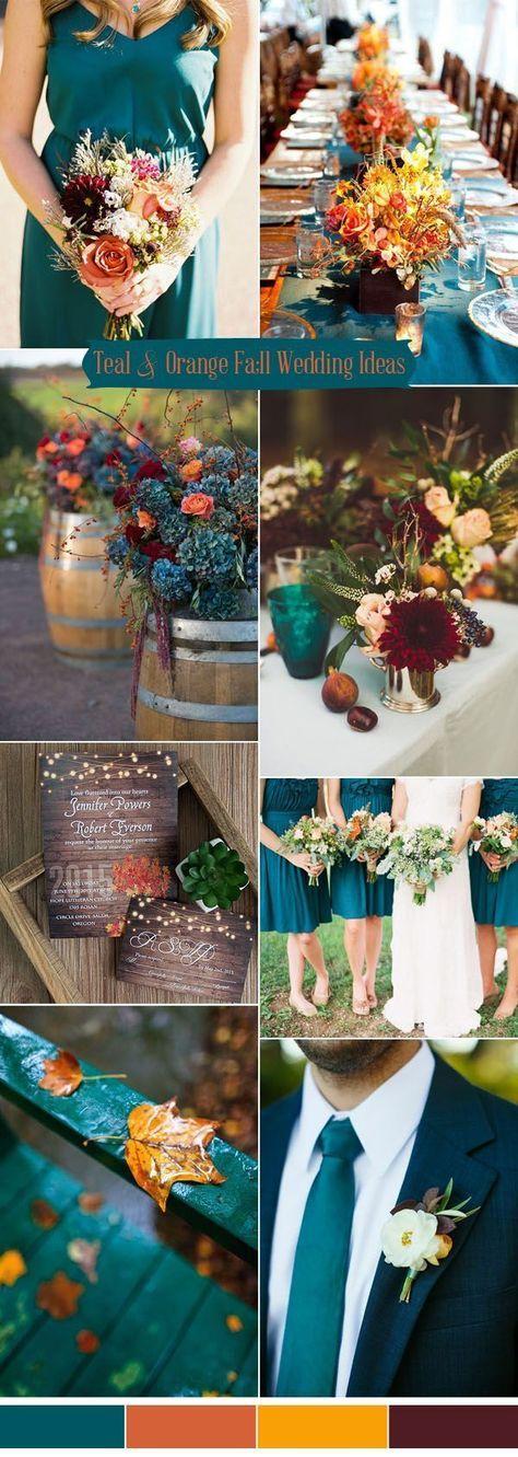 Teal, Orange & Burgandy Wedding Color Palette