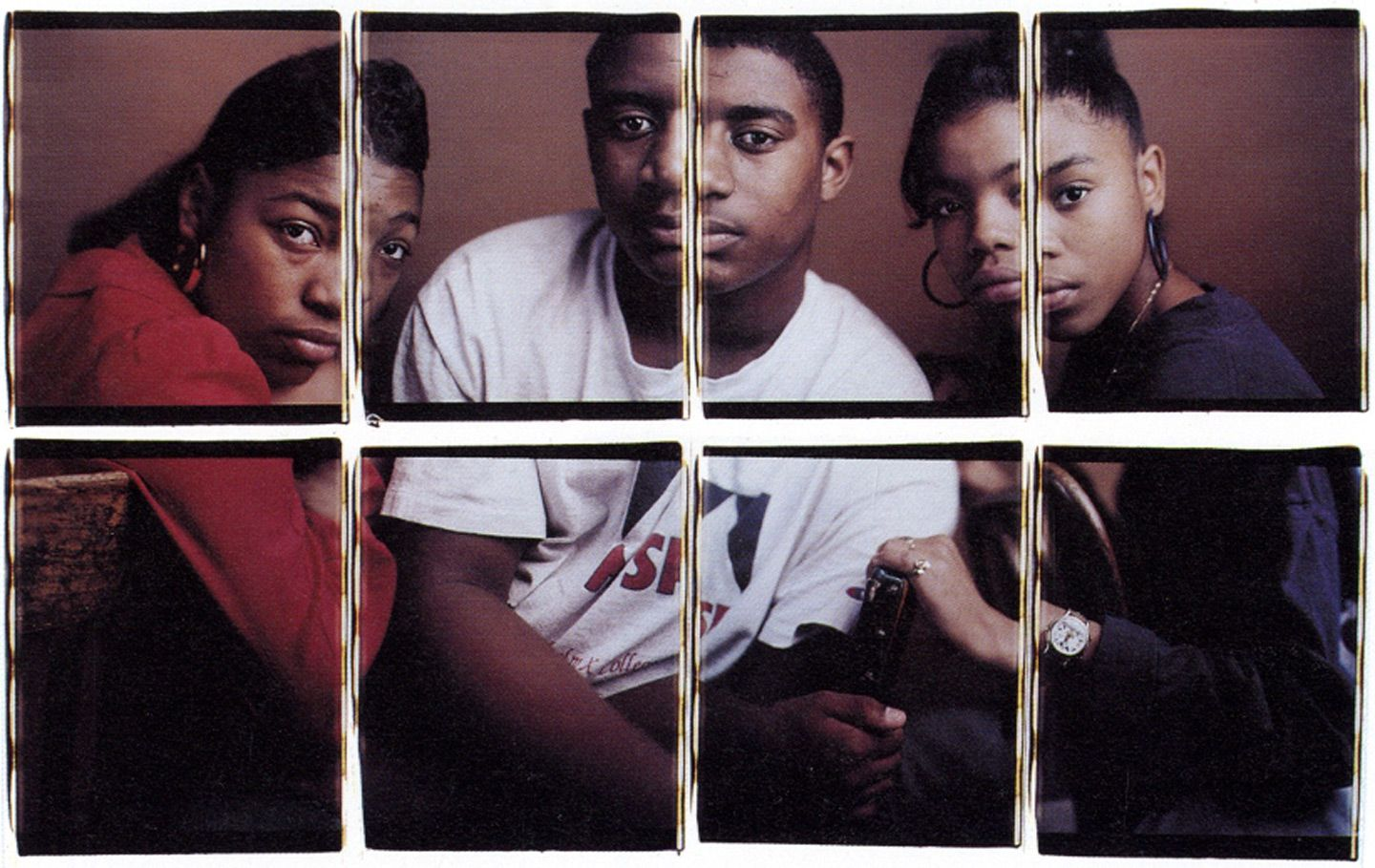 Toyia, Kelvin and Erica ,  1996  by Dawoud Bey courtesy of Bank of America Collection.