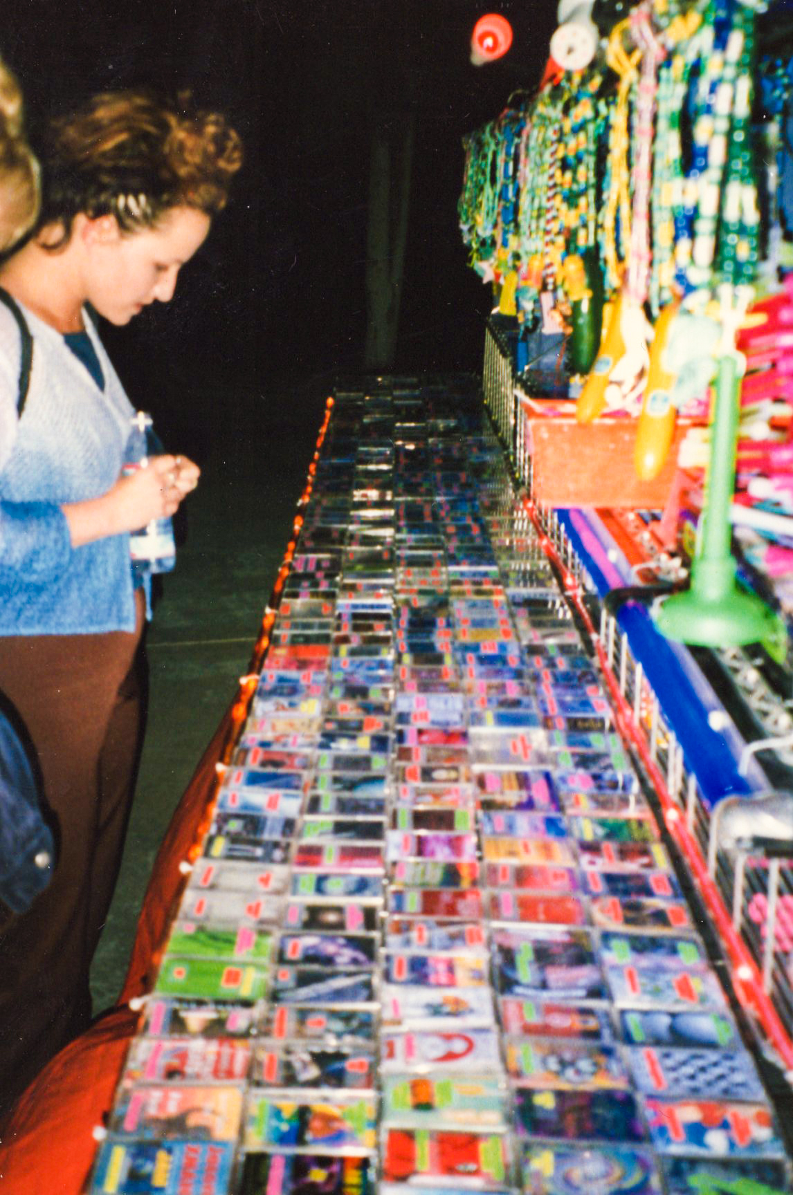 Shopping at the Pure Acid booth, 1996