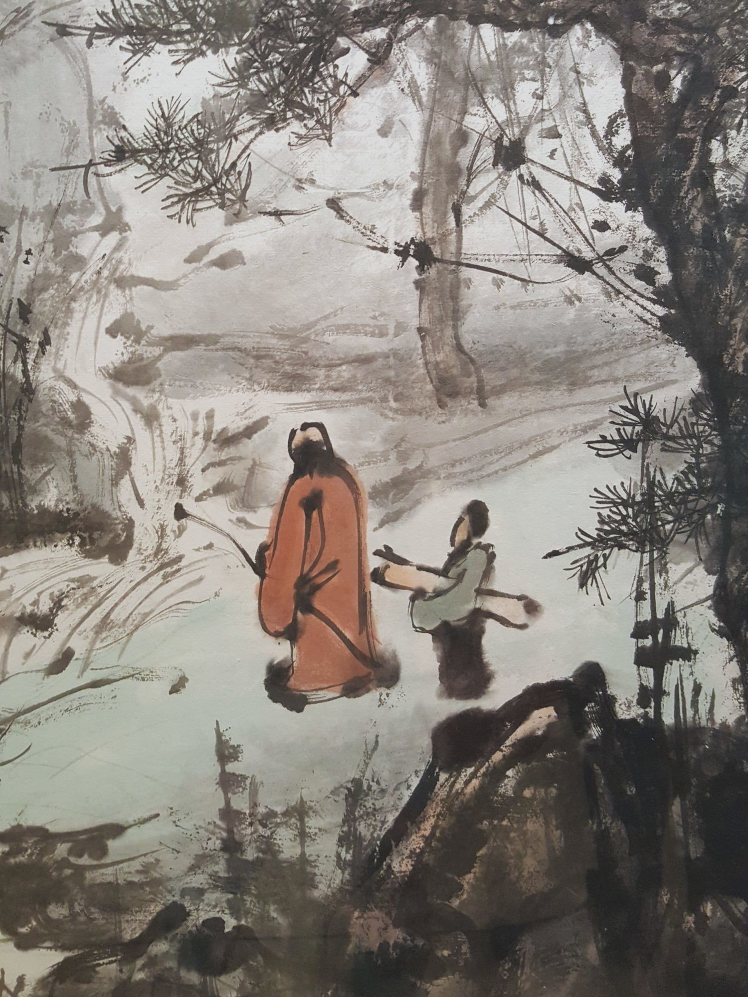 Chinese Ink Figures by Wang Zheng Ping      'Landscape with Unvoiced Sounds', National Art Museum, Beijing