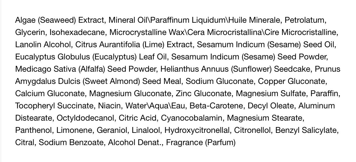 The full ingredient list for La Mer's famous Crème de la Mer moisturizing cream. A case study in marketing spin.
