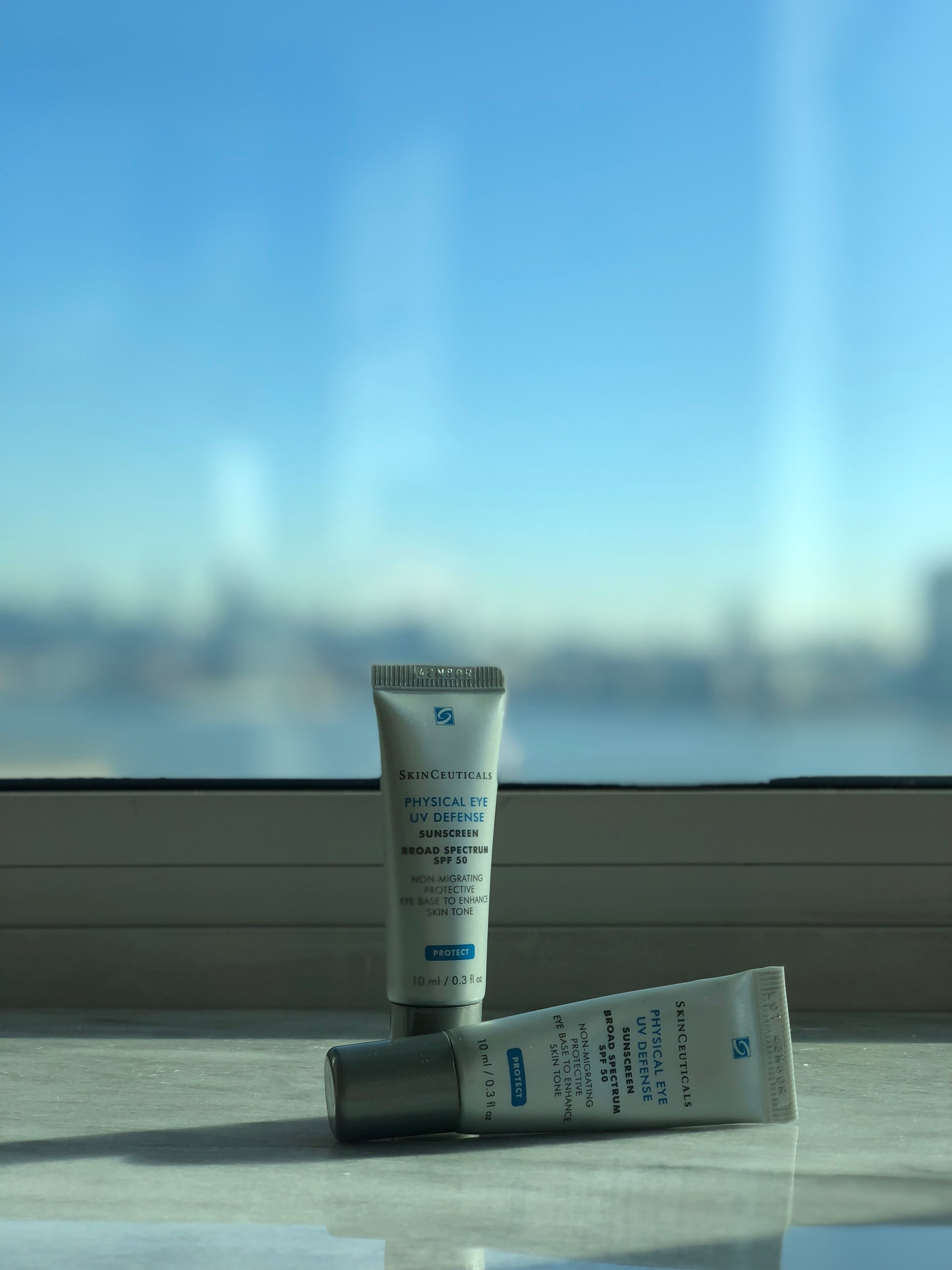A longtime favorite eye cream with sunscreen is the Skinceuticals Physical Eye UV Defense SPF 50