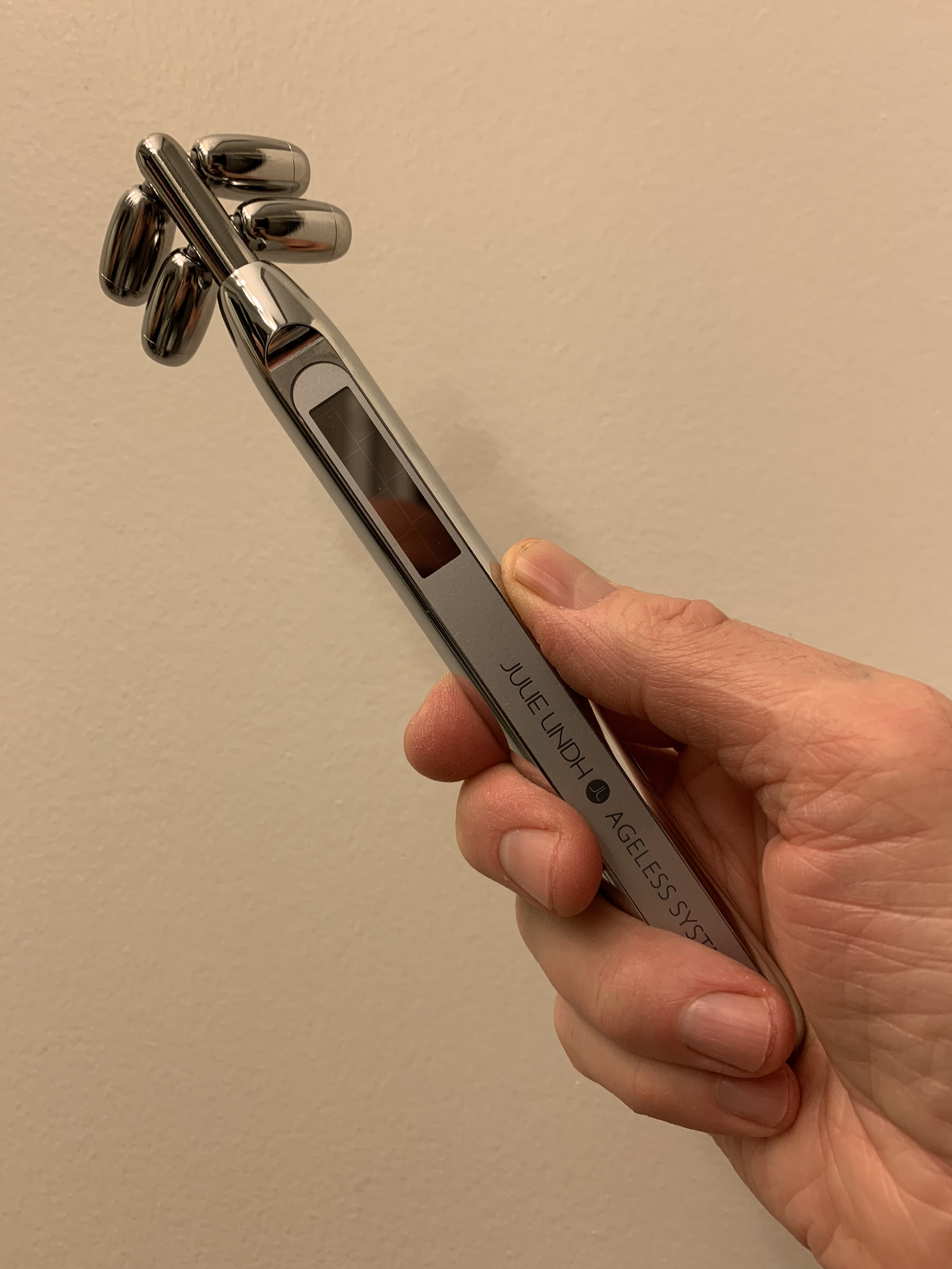 Bonus Step! I try to use the  Ageless Beauty Wand  from Julie Lindh each night. It's like a futuristic jade roller that uses micro-current to stimulate and tone the skin. And it's cool AF!