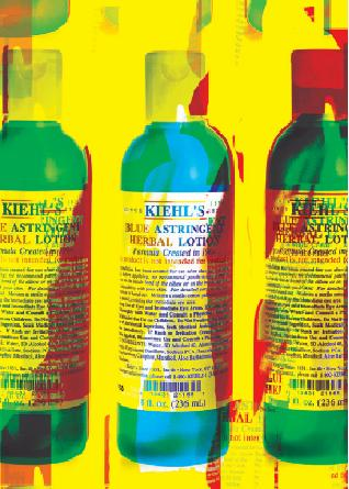 "The Kiehl's ""Garhol"" rendering of cult product Blue Astringent"