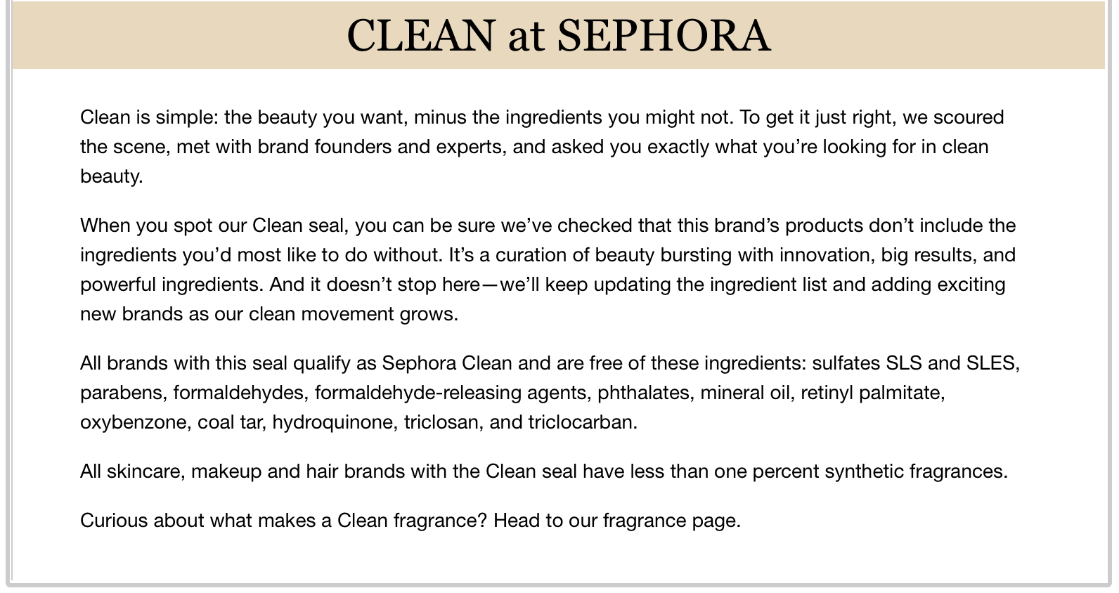"Sephora's definition of ""clean""."