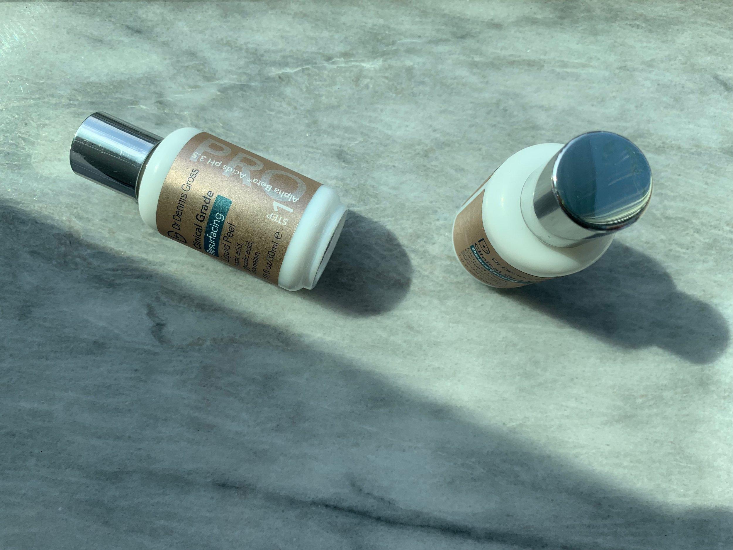 The 2-step Dr. Dennis Gross Clinical Grade Resurfacing Liquid Peel is serious stuff!
