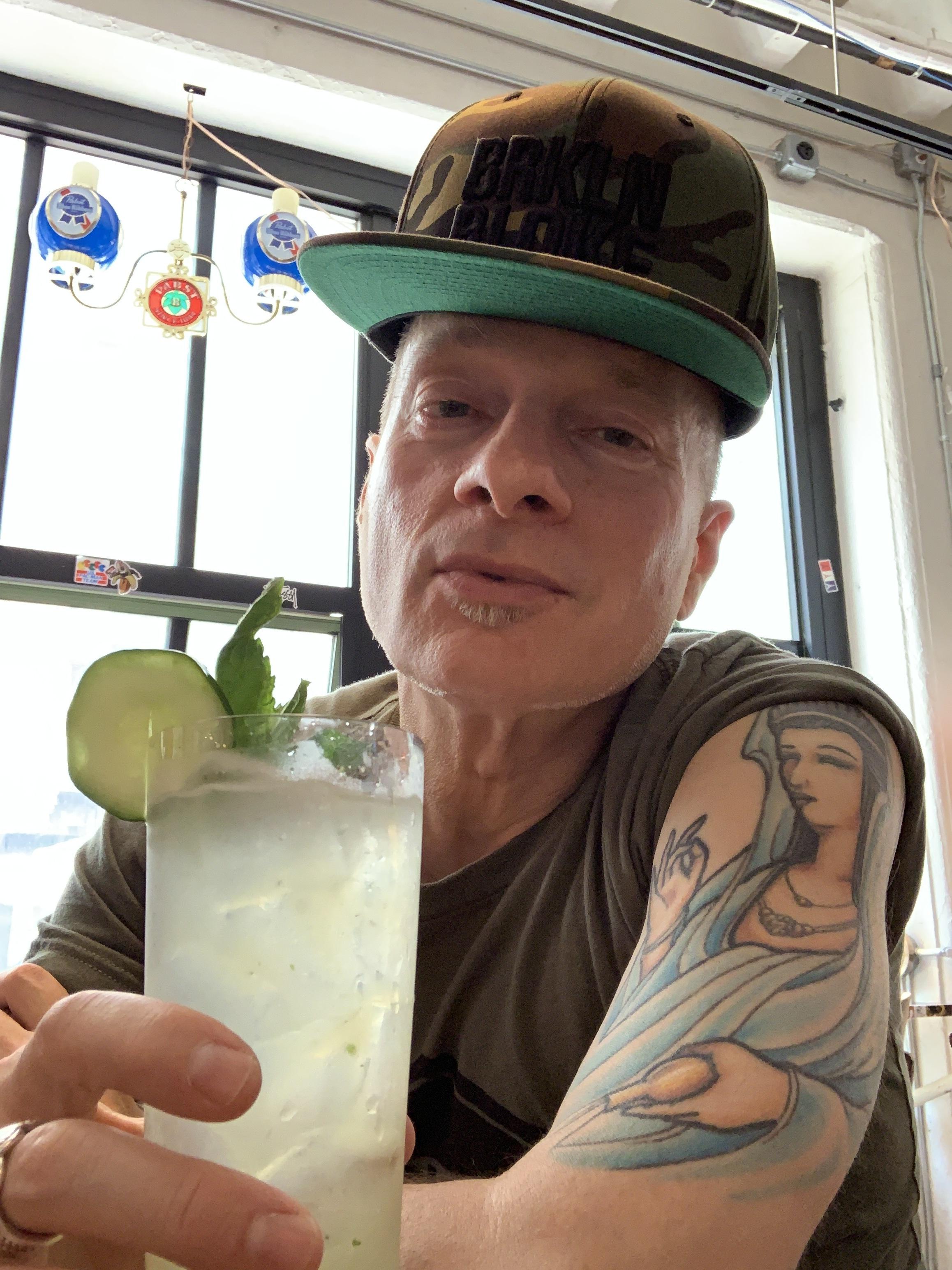 "Enjoying a refreshing alcohol-free summer ""mocktail""!"