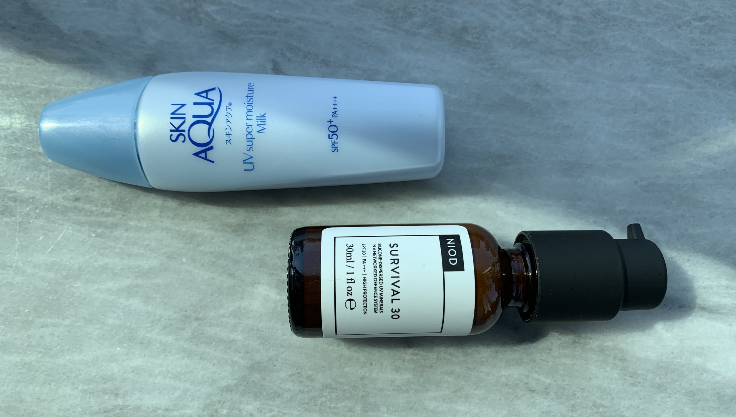 Two of my fave sunscreens, both boasting super lightweight textures that blend right in.