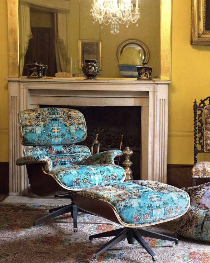Hand crafted furniture….Eames style chair upholstered in Capriccio velvet from Sir John Soane's 'Collectors' collection
