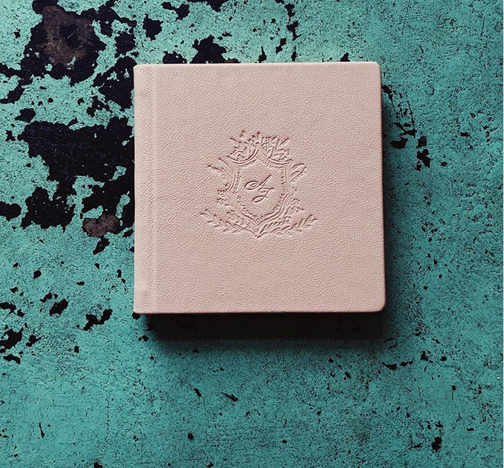 Clear custom stamp on blush leather