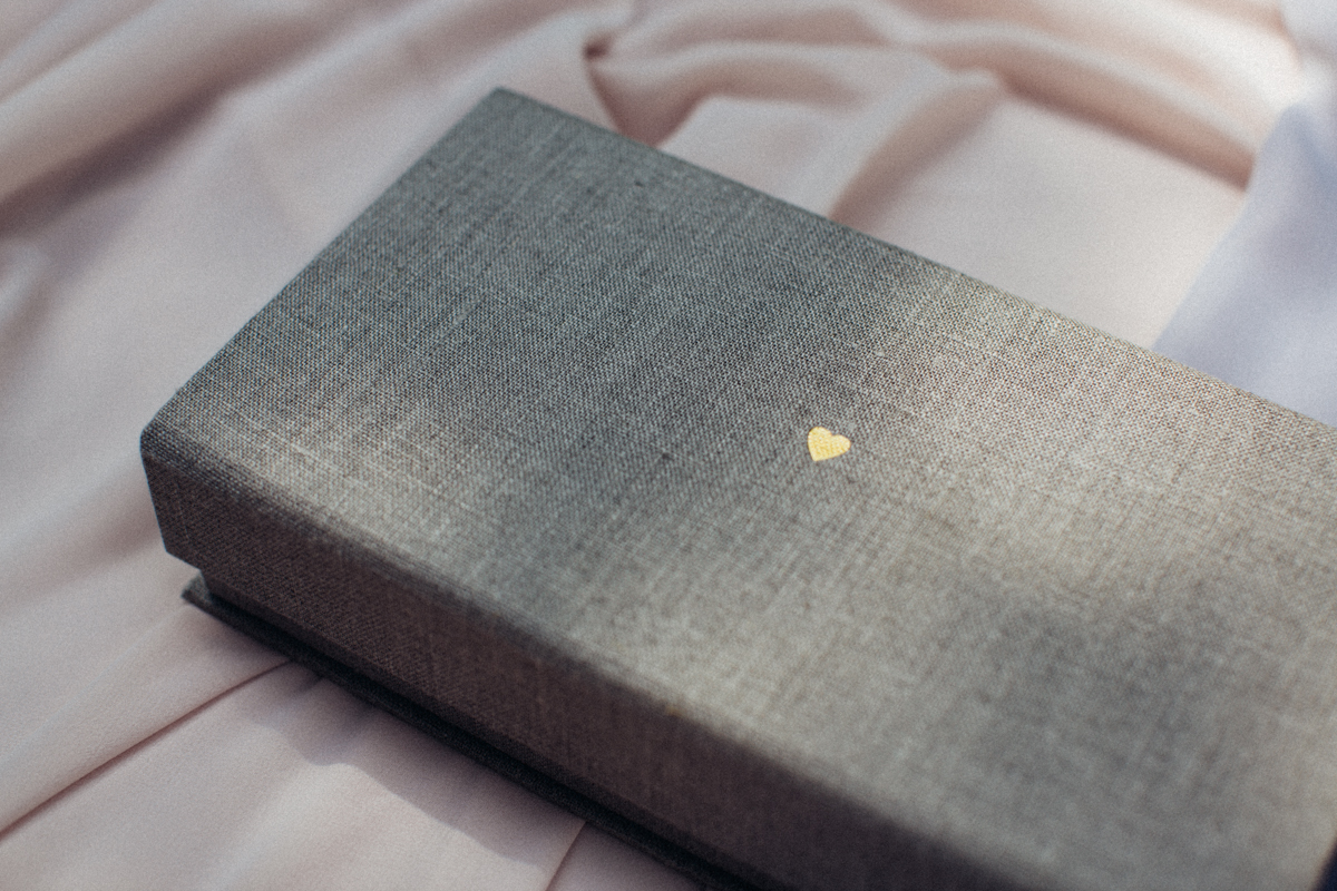 Gold embossing clamshell box