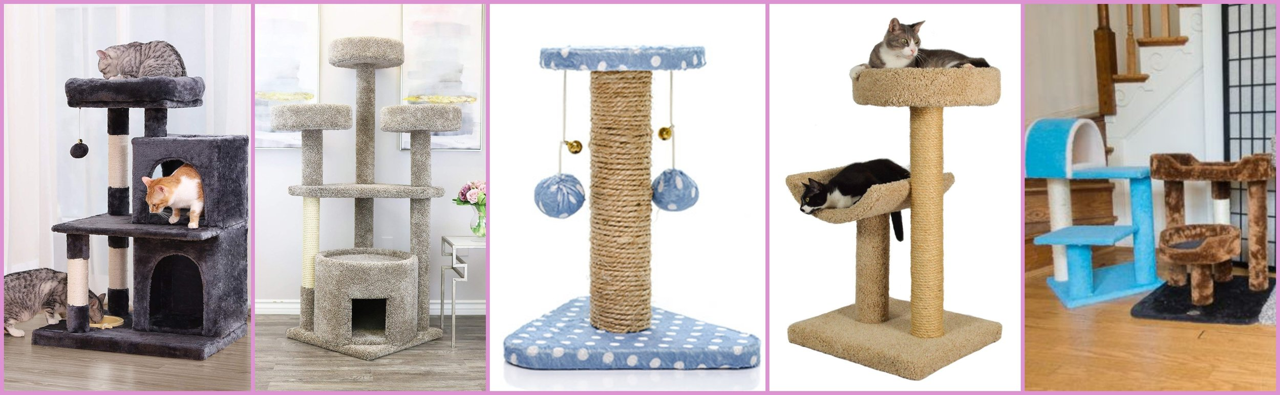 Different types of man-made Cat Trees - Provide entertainment, stimulation and keeps couches safe.