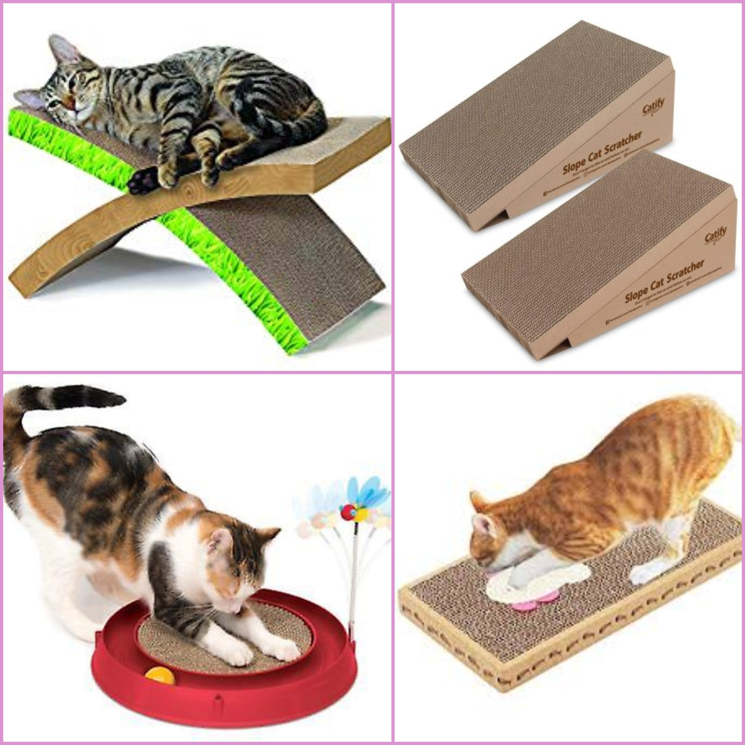 Different types of card board scratchers.