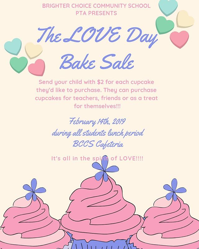 Reminder: Tomorrow is the LOVE day bake sale. We will have cupcakes for sale during all the students lunch periods. They can buy for themselves, a friend, teacher, admin, etc. Anyone they want to show some love to. . . . . #welovebccs #bakesale #fundraiser #loveday #d16 🧁💖🧁♥️🧁💛🧁💚🧁💙🧁💜🧁🧡