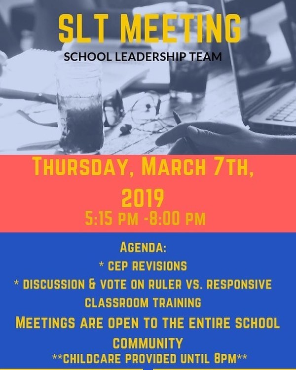 REMINDER: Tonight is our SLT Meeting. There is a substantial amount of business to discuss so the meeting time is extended. Stay as long as you can. Childcare is provided. . . . . #welovebccs