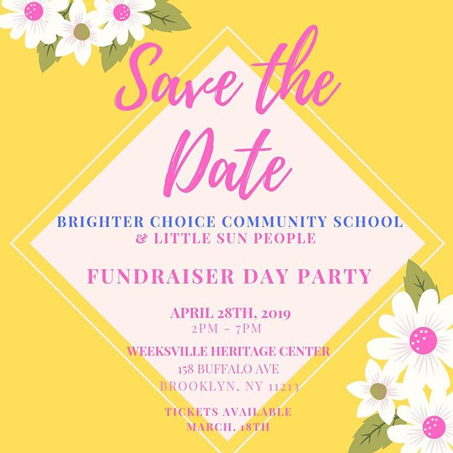 It's that time of year!! Brighter Choice Community School is having our BIGGEST fundraiser of the year and this year we are partnering with @littlesunpeople to throw the BIGGEST fundraiser in Bed Stuy! 🗣🗣 SAVE THE DATE  Tickets go on sale March 18th . . . . #welovebccs #bccsfundraiser #brooklynfundraiser #bedstuyfundraiser #bedstuy #community #d16 #dayparty