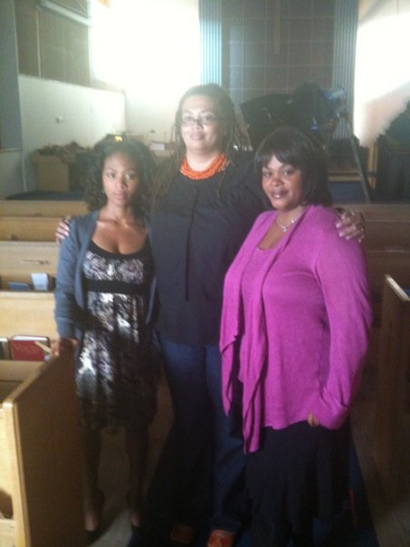 """Carleen with Jill Scott on the set of Lifetime's """"Sins of the Mother"""" (2010)"""