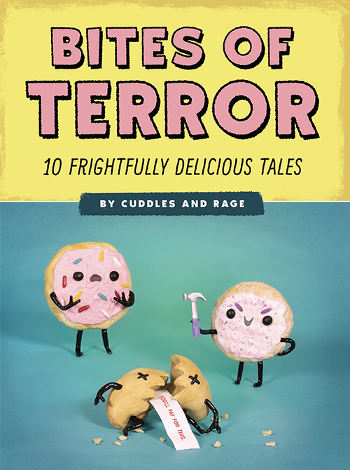 Bites of Terror - Hungry for humor? Tuck into these darkly funny horror stories starring creepy-cute food folk, presented in a photographed diorama-comic format that brings the stories to colorfully disturbing life. Inspired by Tales from the Crypt and perfect fare for readers of All My Friends are Dead and Awkward Yeti.From an ice cream cone who makes a deal with the devil('s food cake), to a moldy strawberry who wants one last dip in a bowl of cream, Bites of Terror offers ten macabre, hilarious tales featuring adorable anthropomorphic food characters caught in horror story scenarios complete with twist endings. Each tale is introduced by your horrible host, the Cake Creeper, a partially eaten groom's cake with an agenda of his own. And because presentation is so important for every meal, the stories are told in