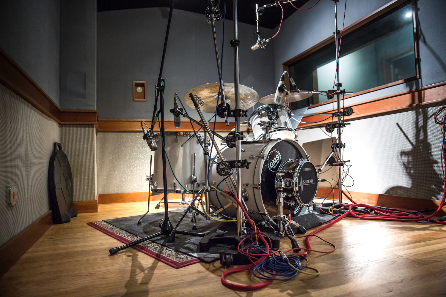 Drum kit in isolation booth