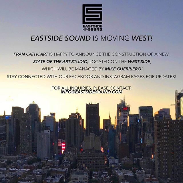 In case you didn't hear, our NEW #westside location to be announced soon! • #eastsidesoundstudios #thebestisyettocome #recordingstudio #lowereastsidenyc #manhattan #westside #musicstudio #proaudio #recording #mixing #musicproduction #audio #music #musician #song #songwriter #singer #nyc #love #teamLOVE