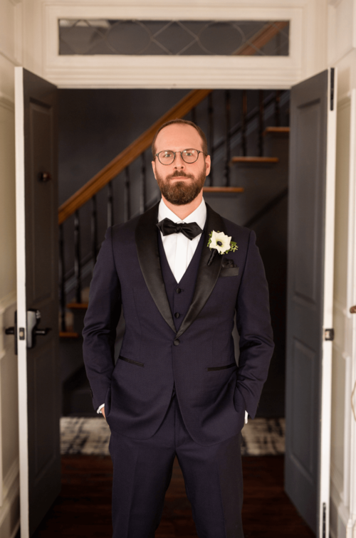 custom wedding navy tuxedo - 3 piece with vest, loro piana