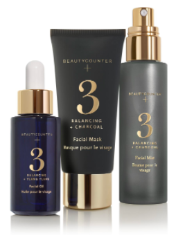 Balancing Collection - $166 CAN -  SHOP   Spa Set Gift Size - $110 CAN -  SHOP   A collection of targeted masks, mists, and oils formulated with safer ingredients to enhance your daily skin care regimen. Infused with activated charcoal and ylang ylang, the Beautycounter+ Balancing Collection gently refines oily, uneven skin. Activated charcoal and kaolin clay absorb excess oil and refine skin texture, giving skin a smooth, polished appearance.