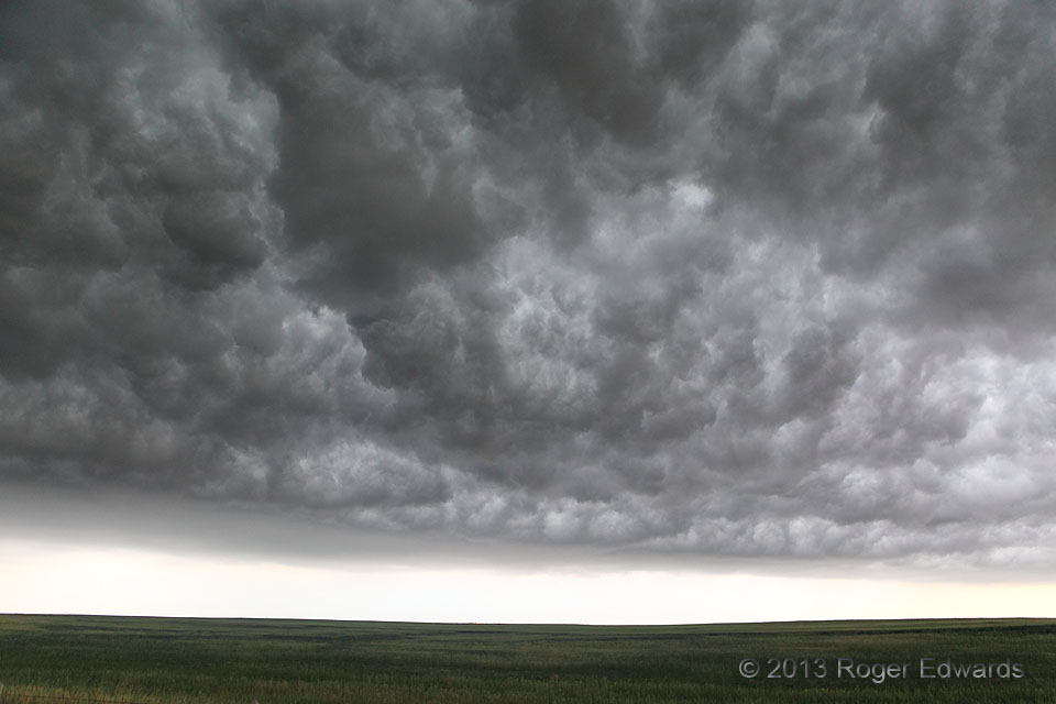 the whale's mouth-effect is the weird-looking sky sometimes appearing when the first gust front of a storm is passing over. The cold downdraft of air of the storm rushes outward and forward along the surface, and lifts the warmer air in the direct vicinity of the storm over its condensation level. One gets to see the back side of this mini cold front, and the inside of the gust front cloud. It looks somewhat like mammatus and other forms of turbulent cloud masses, sometimes showing very neat ordering.  Source: http://www.weatherscapes.com/album.php?cat=clouds&subcat=whales_mouth