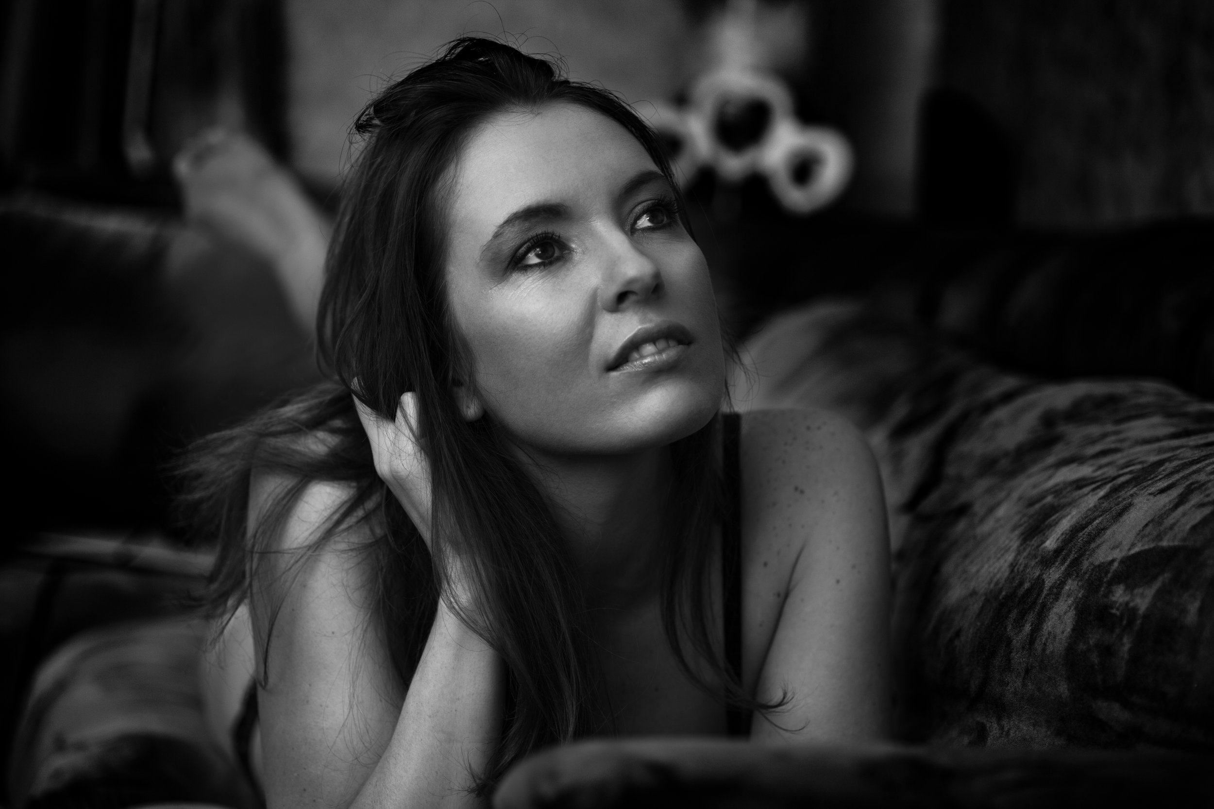 Photo portrait en noir et blanc