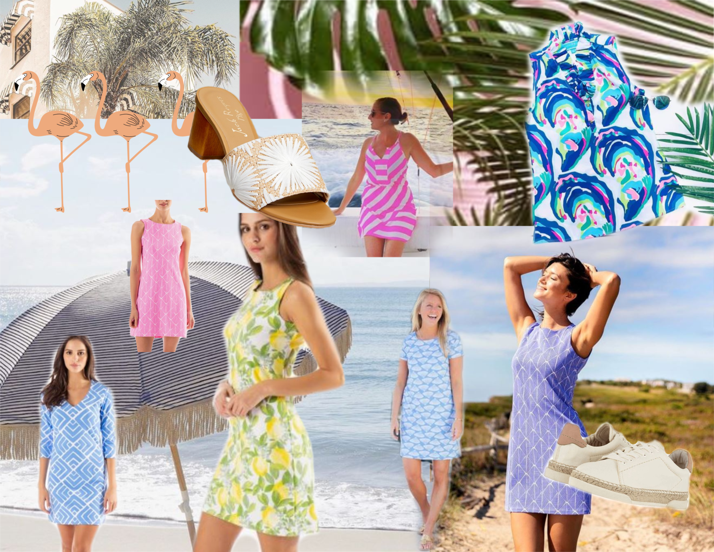 Coastal Class - It's summer 2019 on the shoreline and playful dresses with prints are in.  From the lemoncello dress to the multi-colored oyster pattern, these dresses are perfect for days around town, down by the beach, and enjoying evenings at the club.  Many with special UV protection designed into the fabric.  They are not only an easy outfit to throw on but they are also fun and stylish.  Pair it with our raffia trainers for a casual look, or the natural sandals to make it more chic.