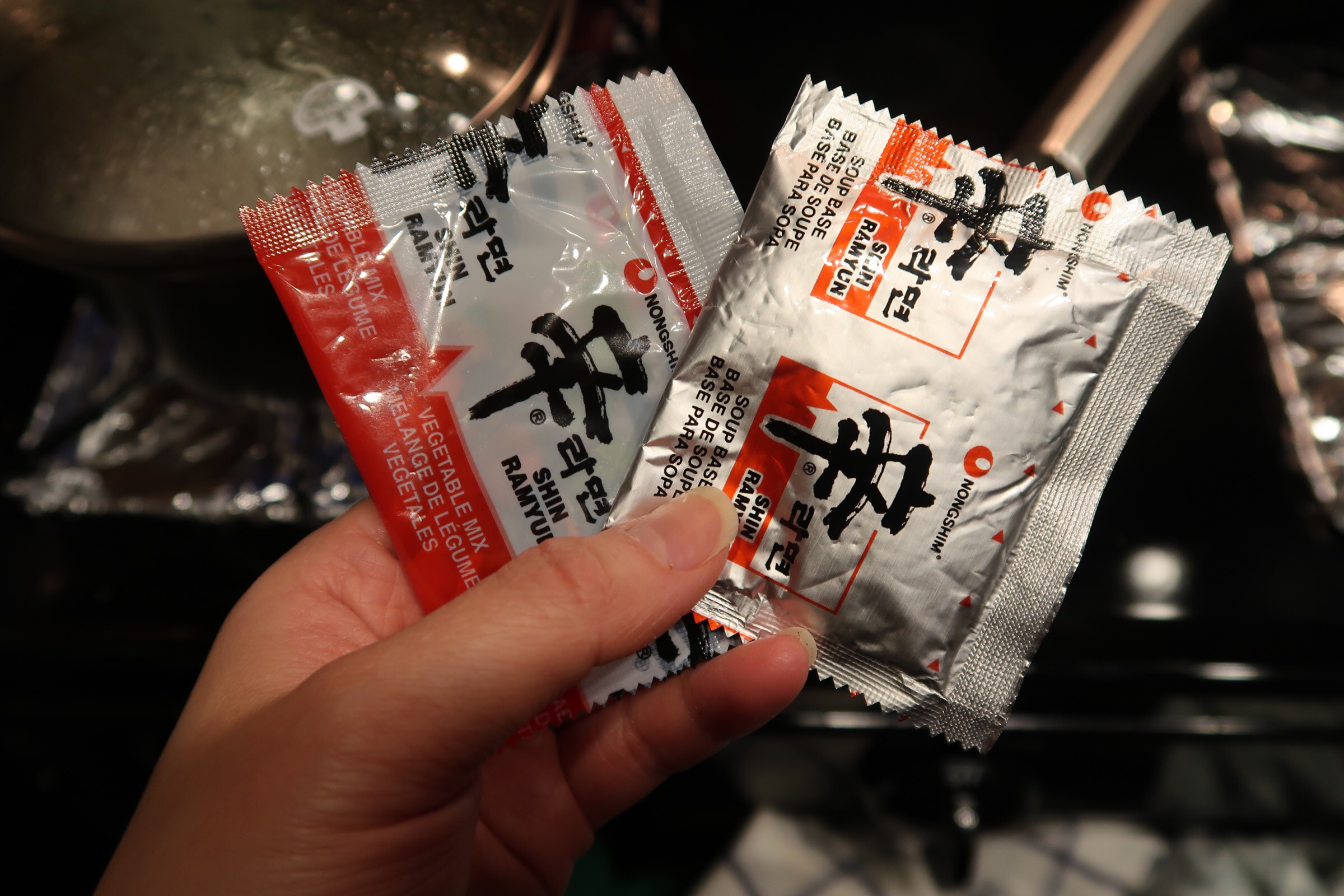 a dried vegetable packet and dry soup packet