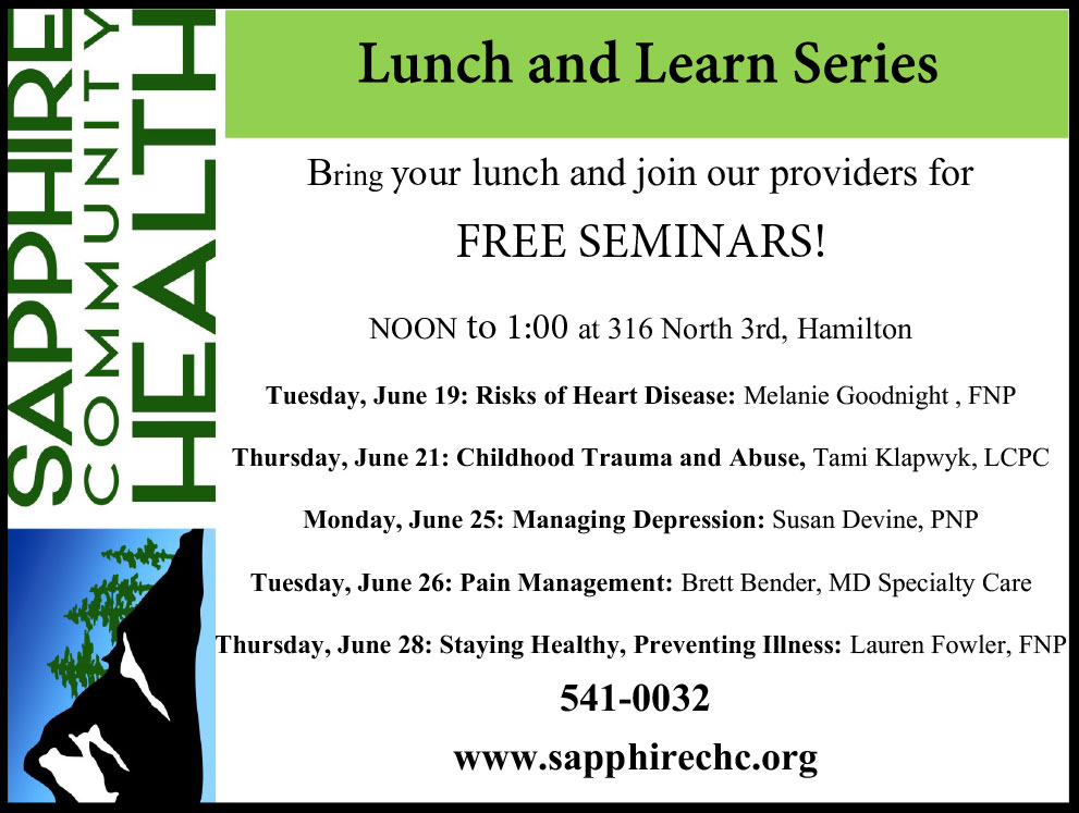 2018 Lunch and Learn Series Sapphire Community Health