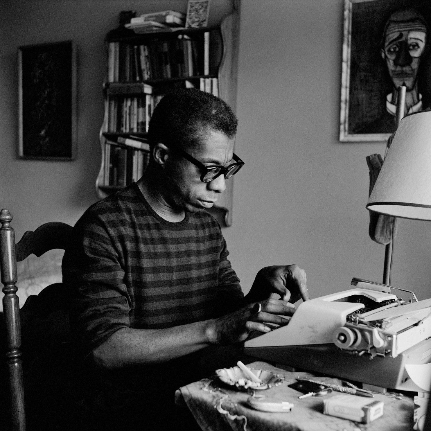Photo of James Baldwin in his Istanbul office by    Sedat Pakay