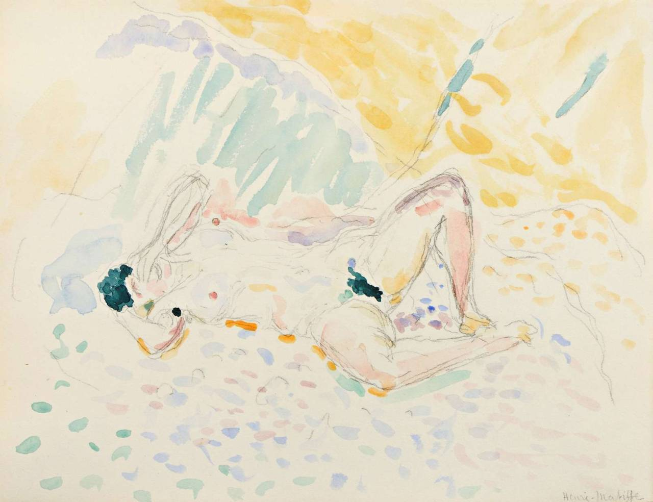 Henri Matisse (1869-1954),  Reclining Nude  (1905), pencil and watercolour on paper, 27 x 21 cm. Via  kundst .