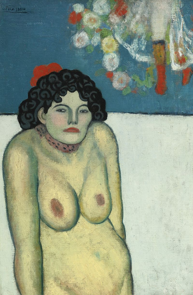Pablo Picasso, La Gommeuse, 1901, oil on canvas, from Picasso's Blue Period