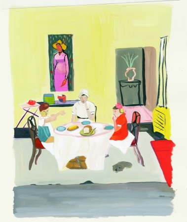 Maira Kalman. Bread and butter was all she served., 2004. Gouache on paper. Courtesy of the artist and Julie Saul Gallery. © Maira Kalman