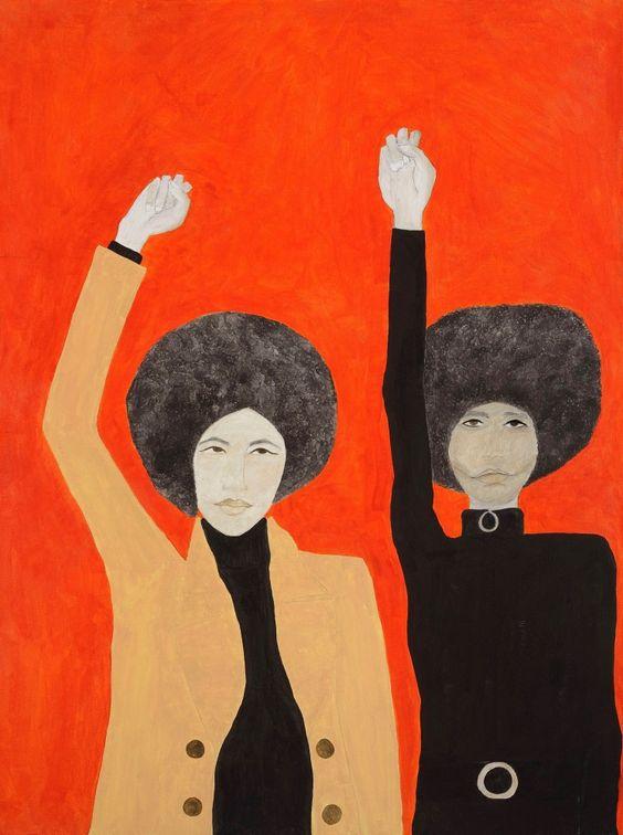 "Kate Boxer, ""Kathleen Cleaver and Angela Davis (acrylic ink on canvas),"" 2016"