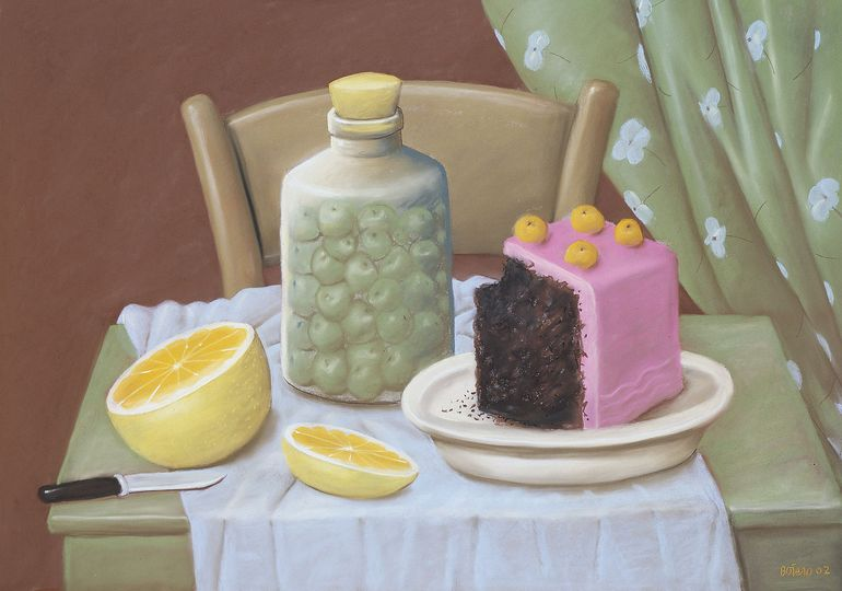 Fernando Botero, Still Life with Cake, 2002 Pastel on paper, 71 x 101 cm Private collection © Fernando Botero.