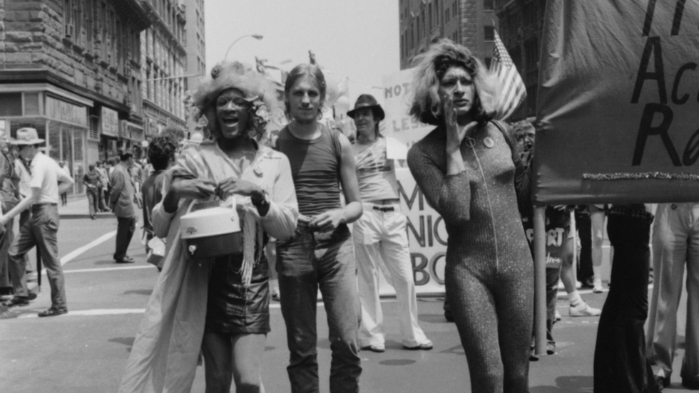 Marsha P. Johnson and Sylvia Rivera at the Christopher Street Lberation Day, Gay Pride Parade in New York City in June 1973. Photo: Leonard Fink.